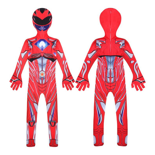 Power Rangers Tyranno Red Ranger Cosplay Costume Halloween Zentai Jumpsuit For Kids