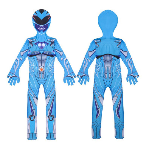 Power Rangers Blue Ranger Cosplay Costume Halloween Zentai Jumpsuit For Kids