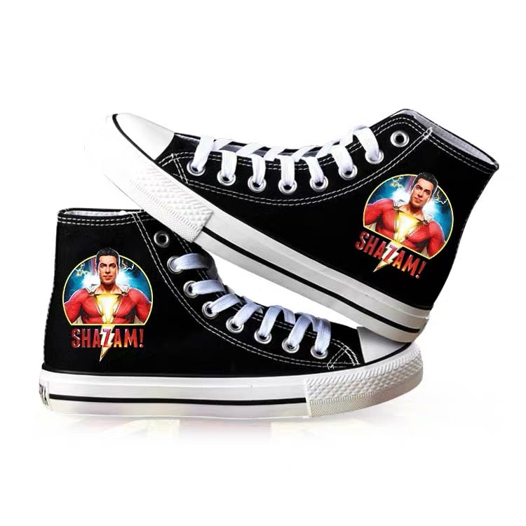 Captain Marvel Shazam Superhero Billy Batson High Top Canvas Sneakers Cosplay Shoes For Kids
