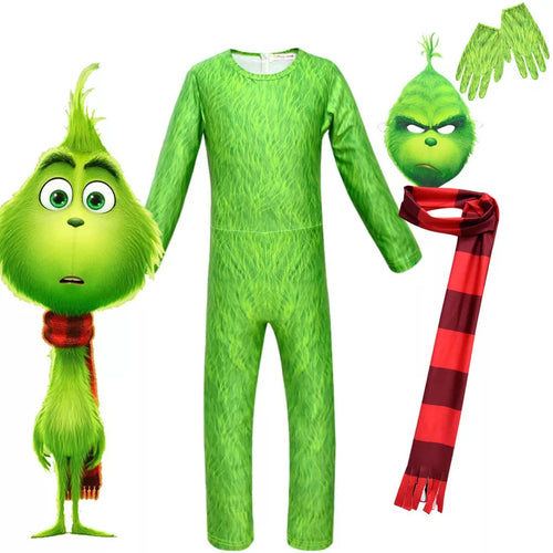 How The Grinch Stole Christmas Party Cosplay Costume Halloween Zentai Jumpsuit For Kids
