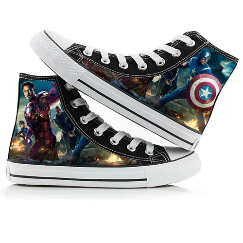 Avengers Endgame Iron Man High Tops Casual Canvas Shoes Unisex Sneakers For Kids