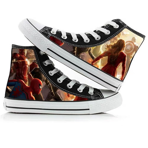 Avengers Endgame Captain Marvel High Tops Casual Canvas Shoes Unisex Sneakers For Kids