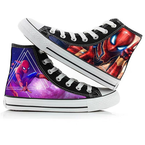 Avengers Endgame Spiderman High Tops Casual Canvas Shoes Unisex Sneakers For Kids