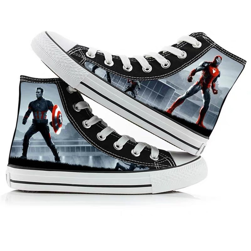 Avengers Endgame Captain America High Tops Casual Canvas Shoes Unisex Sneakers For Kids