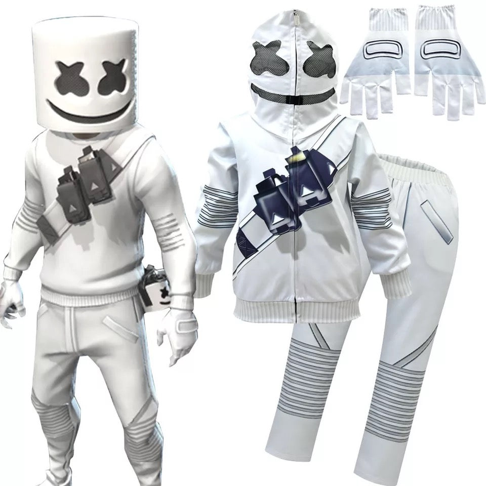 Fortnite Marshmello DJ Party Sweatshirts Cosplay Costume Full Set For Kids