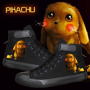 Pikachu Anime Shoes Pocket Monster Go Cosplay Canvas Shoes Unisex High Top Shoes