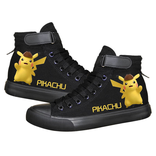 Anime Pocket Monster Pokemon Go Pikachu Ankle High Tops Casual Canvas Shoes Unisex Sneakers