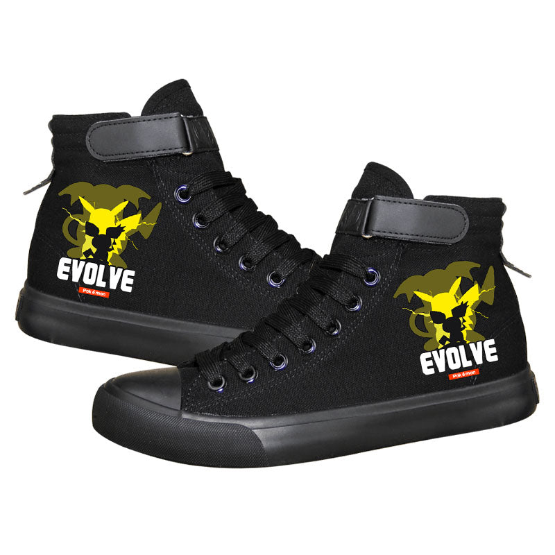 59bb50dcc3d91 Anime Pocket Monster Pokemon Go Pikachu High Tops Casual Canvas Shoes  Unisex Sneakers