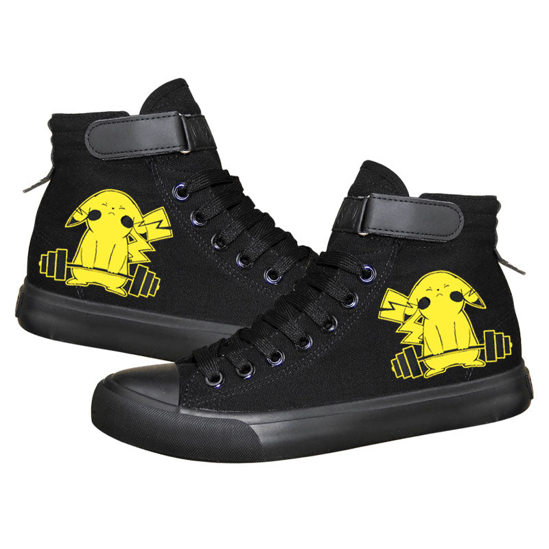 Anime Pocket Monster Pokemon Go Pikachu High Tops Casual Canvas Shoes Unisex Sneakers