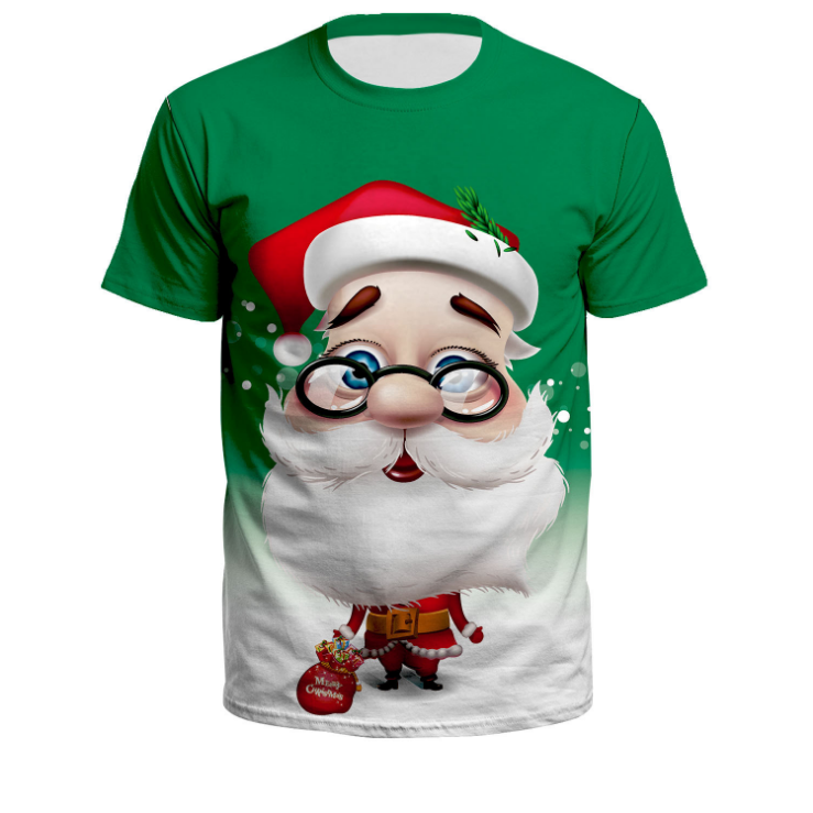 Ugly Christmas Santa Claus Wearing Glasses Short Sleeve T-Shirt