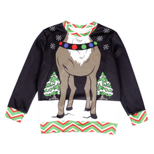 Load image into Gallery viewer, Ugly Christmas Reindeer Sweater Pullover For Kids