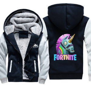 Game Fortnite Unicorn Cosplay Hoodie Wool Fleece Coat For Adults