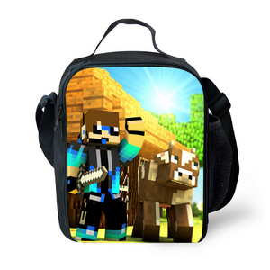 Minecraft Insulated Lunch Bag for Boy Kids Thermos Cooler Adults Tote Food Lunch Box