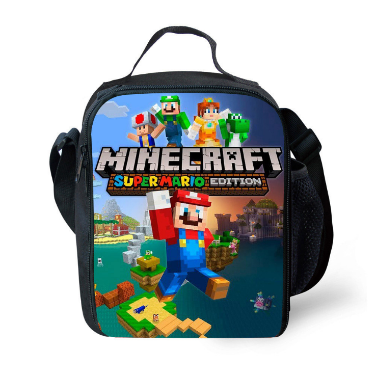 Minecraft Mario Insulated Lunch Bag for Boy Kids Thermos Cooler Adults Tote Food Lunch Box