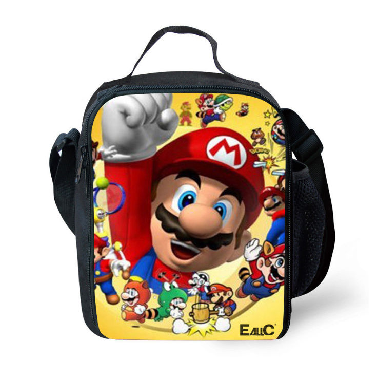 Mario Insulated Lunch Bag for Boy Kids Thermos Cooler Adults Tote Food Lunch Box