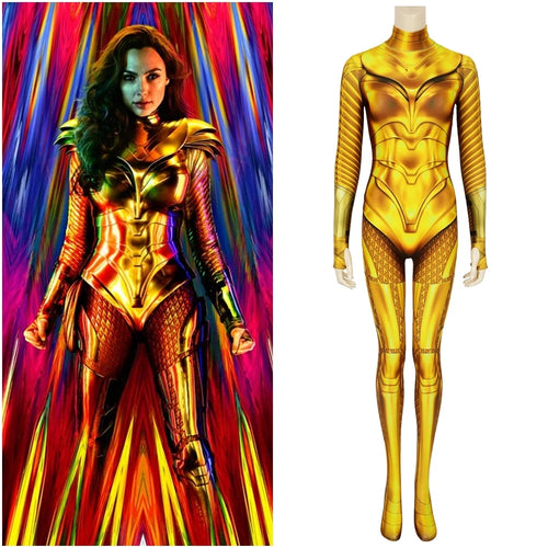Wonder Woman Jumpsuit 1984 cos Diana Golden War Armor Bodysuit Halloween Cosplay Costume for Adults