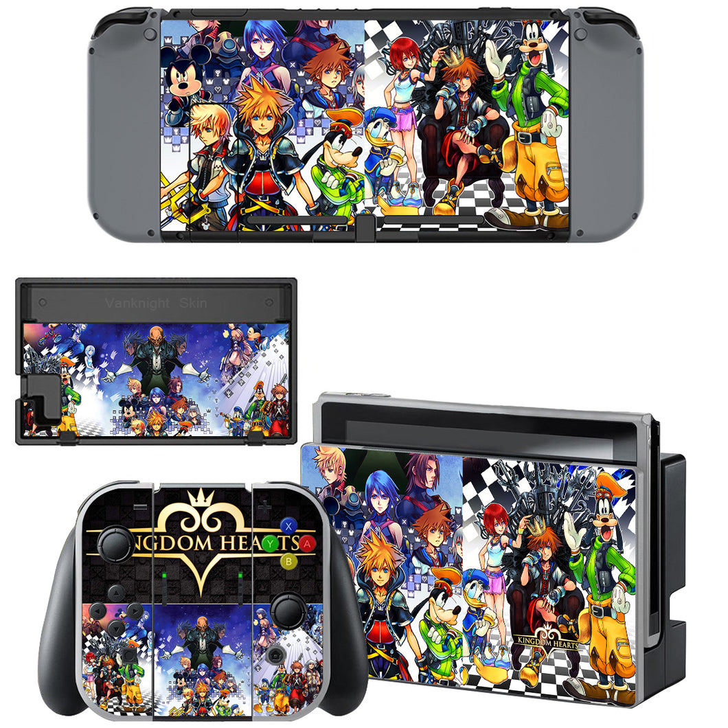 Anime Kingdom Hearts Nintendo Switch Console Joy-Con Vinyl Skins Decals Stickers