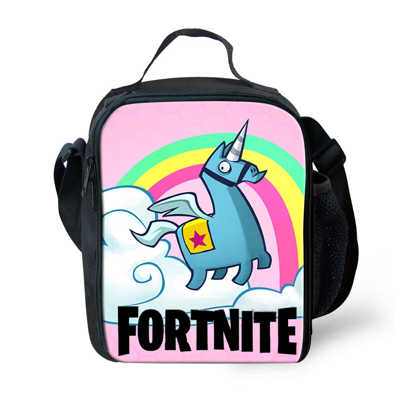 Game Fortnite Battle Royale Lunchbox Bag Lunch Box Unicorn Rainbow Game Skin Xbox