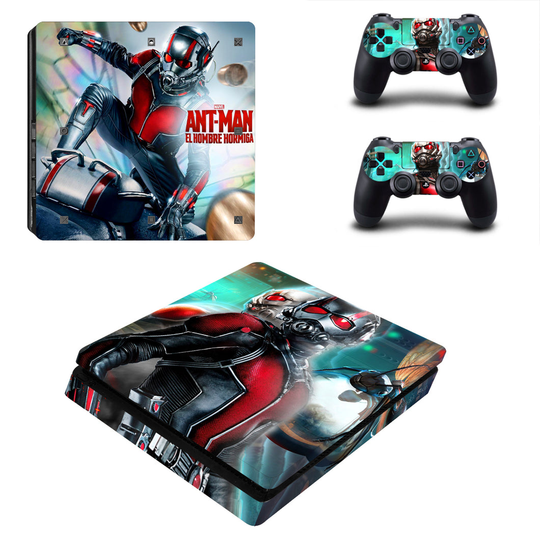 PS4 Slim Console Controllers Vinyl Skin Ant Man Avengers Marvel Stickers Decals