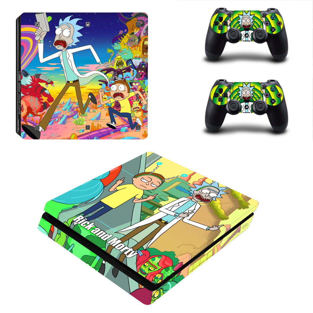 PS4 Slim Console Controllers Vinyl Skin Anime Rick and Morty Decal Sticker Cover