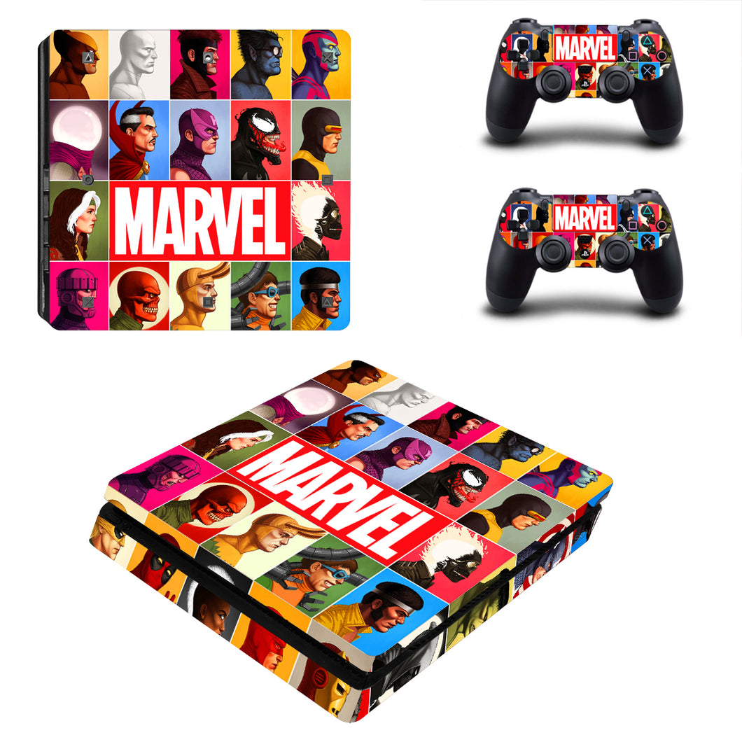 PS4 Slim Console Controllers Marvel Comic Family Vinyl Decals Skins Stickers Set