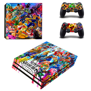 PS4 Pro Console 2 Controllers Super Smash Bros Ultimate Vinyl Skin Stickers Wrap