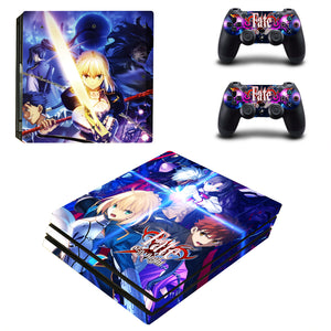 PS4 Pro Console 2 Controllers Fate/Stay Night Saber Vinyl Skin Stickers Set Wrap