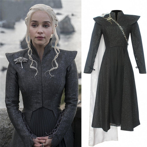 Game of Thrones Season 7 Daenerys Targaryen Cosplay Costume Adult Female Mother of Dragons Halloween Dress Suit for Party