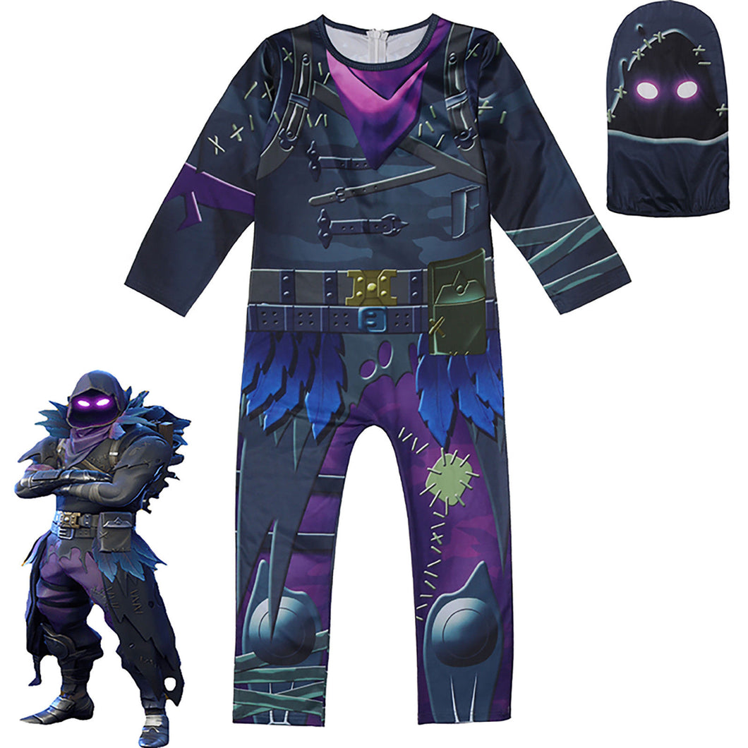 Fortnite Raven Cosplay Jumpsuit Halloween Bodysuit For Kids