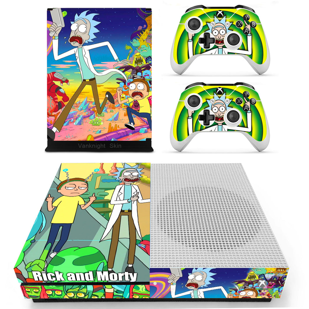 Xbox One S Slim Console Skin Anime Rick and Morty Vinyl Decal Sticker Cover Set