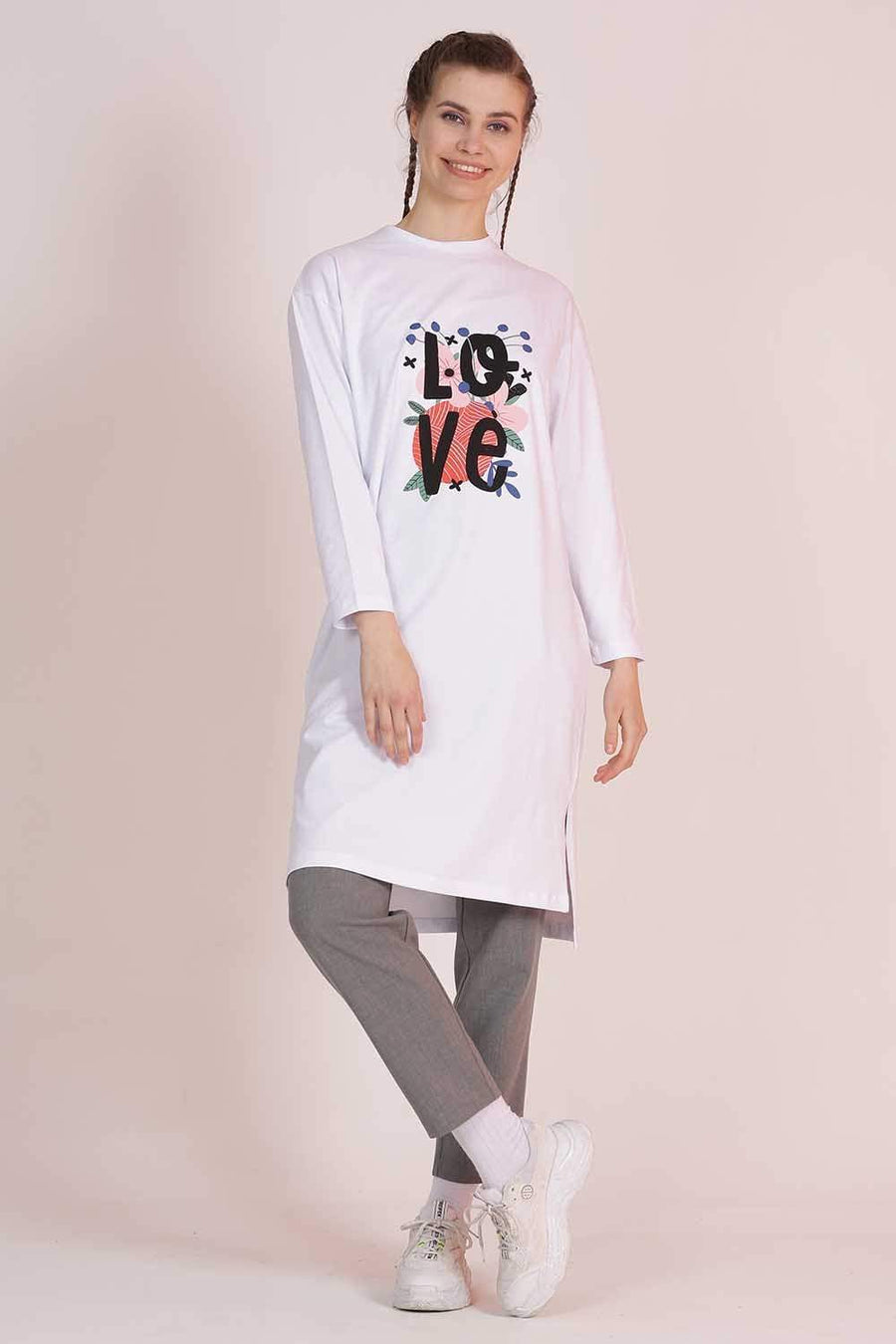 MAVİ LİMON sweatshirt Love White110