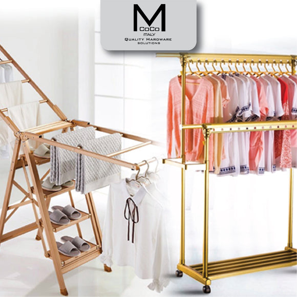 MCOCO CLOTHING LINES, HANGERS, LADDERS & STOOLS
