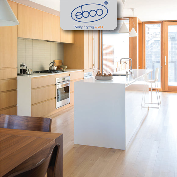 Ebco's product range spans Office Furniture Fittings, Drawer Slides, and Hinges, General Hardware, Joinery Fittings and Screws, Furniture Locks, Retail Display Systems, Window-Door Fittings, Window, Door & Glass Hardware, Kitchen Systems & Accessories