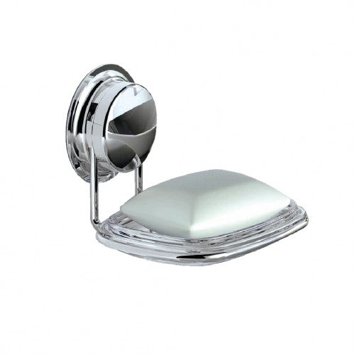 The stainless steel suction soap dish is simply one layer draining design, with the stainless steel rack at the bottom to support the whole soap dish.