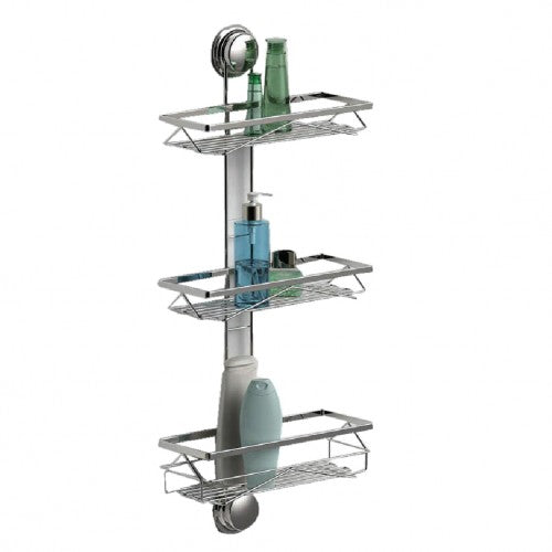 The bathroom suction shelf is designed with 3 tiers shelves for bathroom storage.  It can be mounted beside the wall corner with heavy-duty suction cups, the unique patented suction cap design is stable and easy to use in the bathroom.