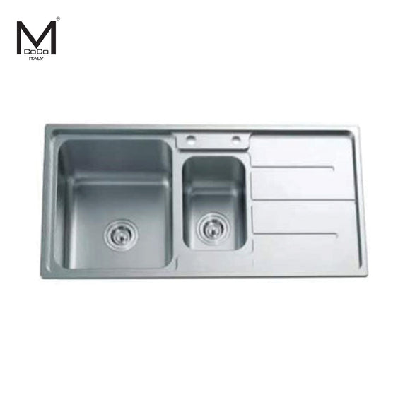 SS FINISH 1 1/2 BOWL SINK WITH DRAIN BOARD - LAN 7324 SS