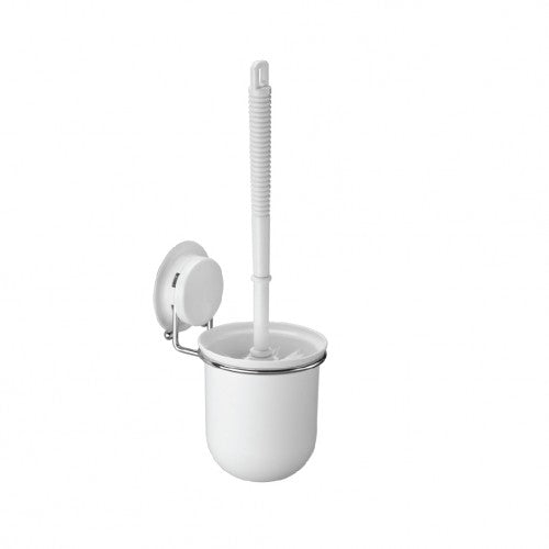 Suction toilet brush holder 260004 comes with a heavy-duty suction cup,  plastic bush and cup holder, stainless steel wire rack.  It can be fixed on the wall aside from the toilet, bathroom.  The brush for clean easily,  cup for put the bush in order.  With the patented vacuum cup system,  you needn't drill a hole on the wall within 1 minute. Also, offer extra glue parts for a rough surface.