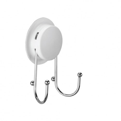 Bathroom suction hooks are designed with heavy-duty suction cups and double hooks. It is different from traditional bathroom hook by screws, but mount on the wall with suction or glue, offer a non-damage solution for the bathroom.  It is a popular selling model, simple but useful for the bathroom. Sometimes, we just want to hang small stuff on the wall, but won't drill holes and damaged tiles in the bathroom. That is the hook for you.