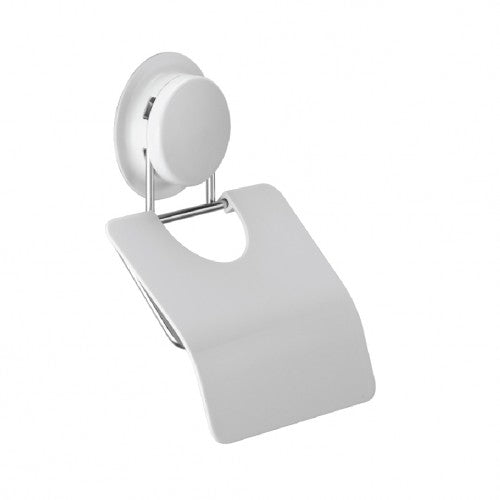 Suction cup toilet paper holder lets you hang toilet paper on the wall without drilling.  The simple design with cover can be mounted by suction.