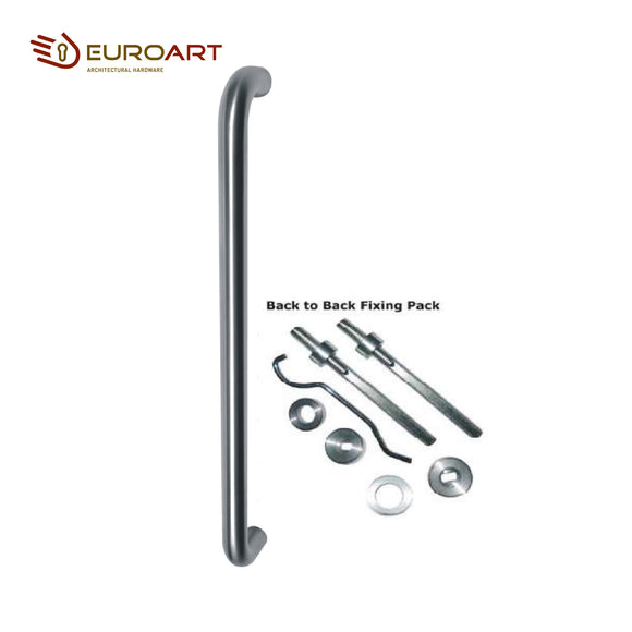 Euroart Main Door D Pull Handle 25 x 600mm Bolt Through and Back to Back Pair on Rose - PHS123BB/SSS