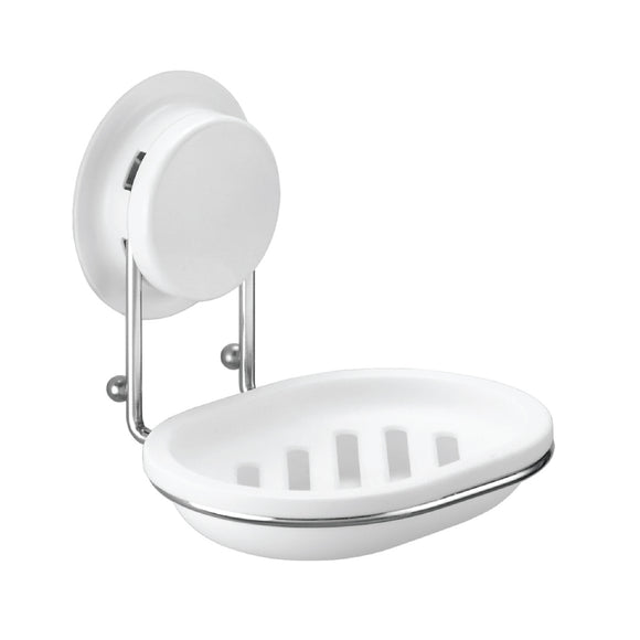 Suction Soap Holder 260001 was designed with a plastic draining soap dish,  can be mounted with suction or glue for bathroom or toilet. You can easy to fix on the wall, put soap on it without the mess.