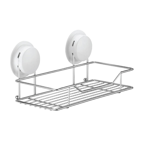 The Suction cup shelf is smaller than the item 260020 suction shelf, just meet smaller space in the bathroom.  The bathroom racks with a stainless steel wire basket, resistant to rust, even in moisture bathroom.