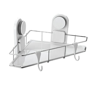 The Suction corner shelf is specially designed for wall corners in the bathroom or kitchen, bedroom. Both suction cups design and can be adjusted according to the corner angle.  Same as the model 260122 shower holder suction, it also is a hot selling product. Plastic ABS corner shelf bottom and a stainless steel wire basket, easy to clean and rust-free.