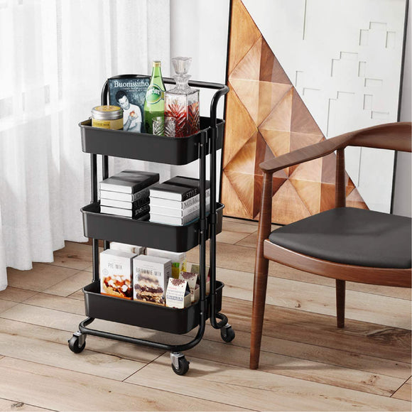 3 TIER TROLLEY SHELVES - TR 03SH BLK