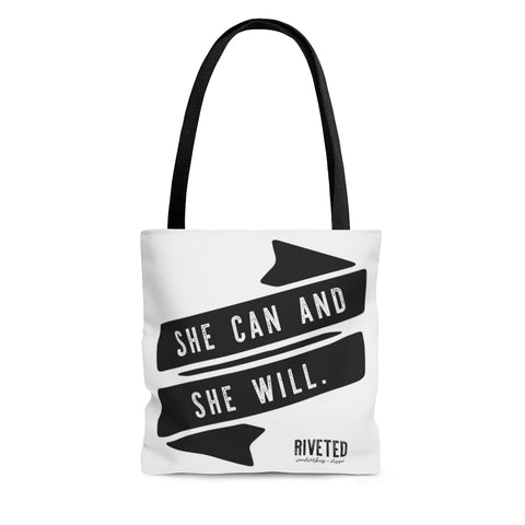 She can and she will tote bag