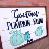 Family Pumpkin Farm hand scrolled shiplap sign