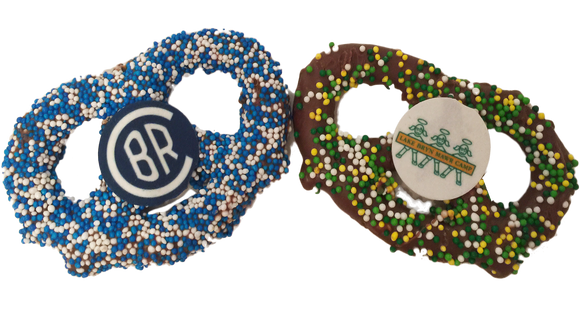 Chocolate Covered Camp Logo Pretzels