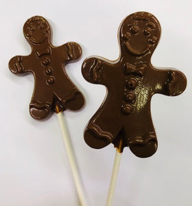 Chocolate Gingerbread Man Lollipops