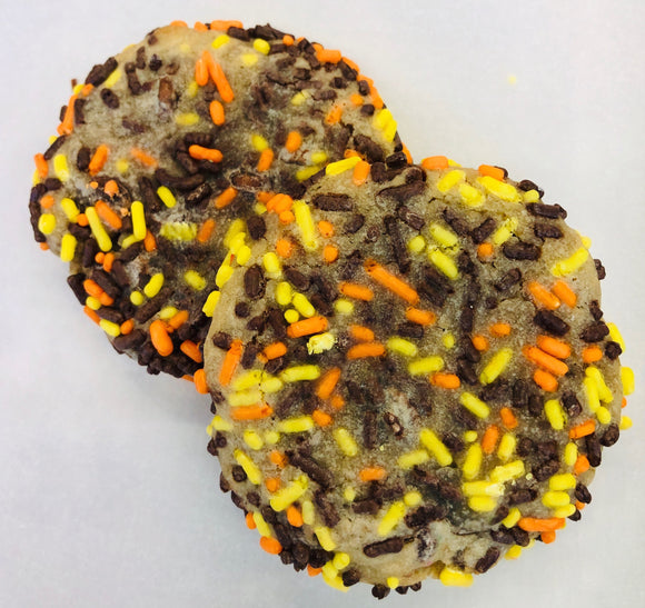 Chocolate Chip Cookies with Fall Colored Sprinkles