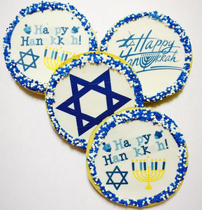Happy Hanukkah Sugar Cookies With Nonpareils